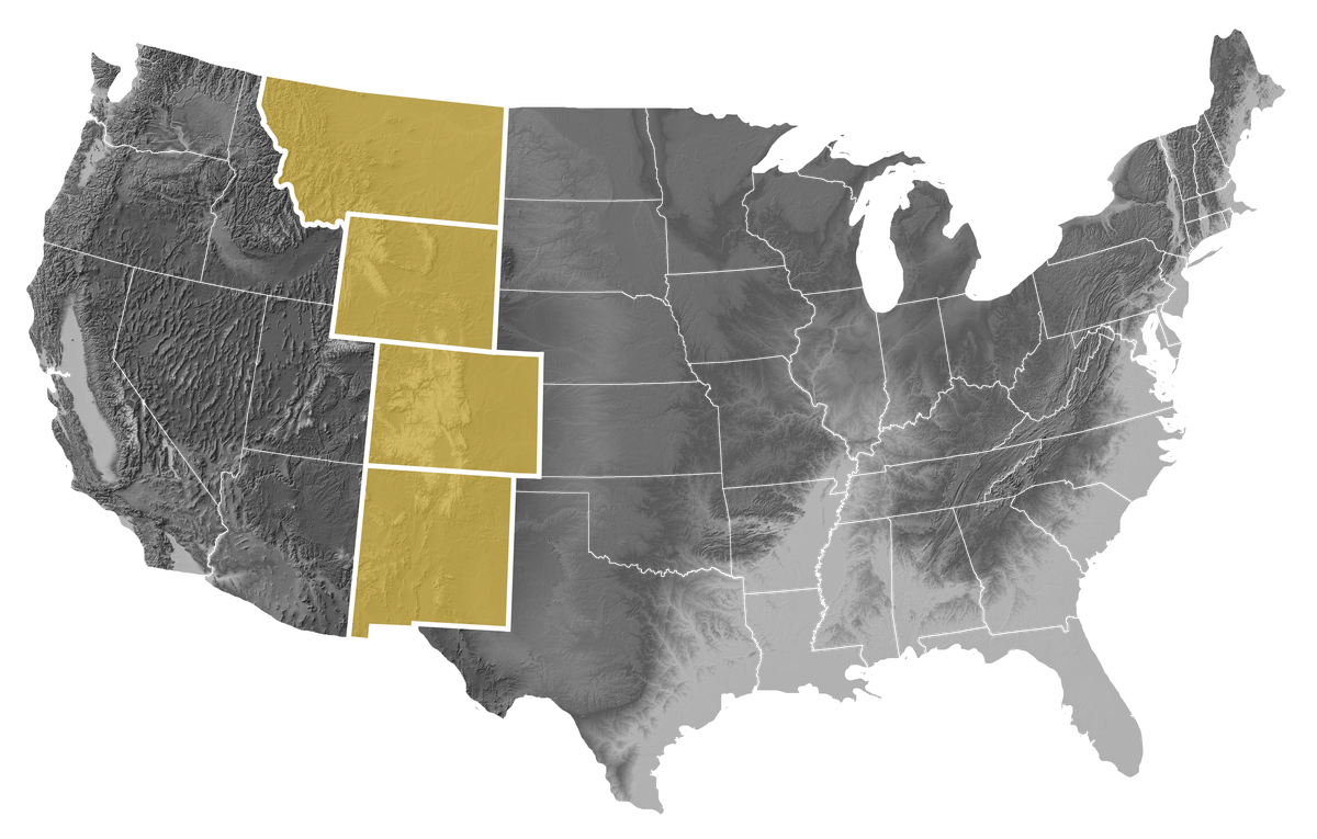 Map of the United States with Montana, Wyoming, Colorado, and New Mexico  highlighted