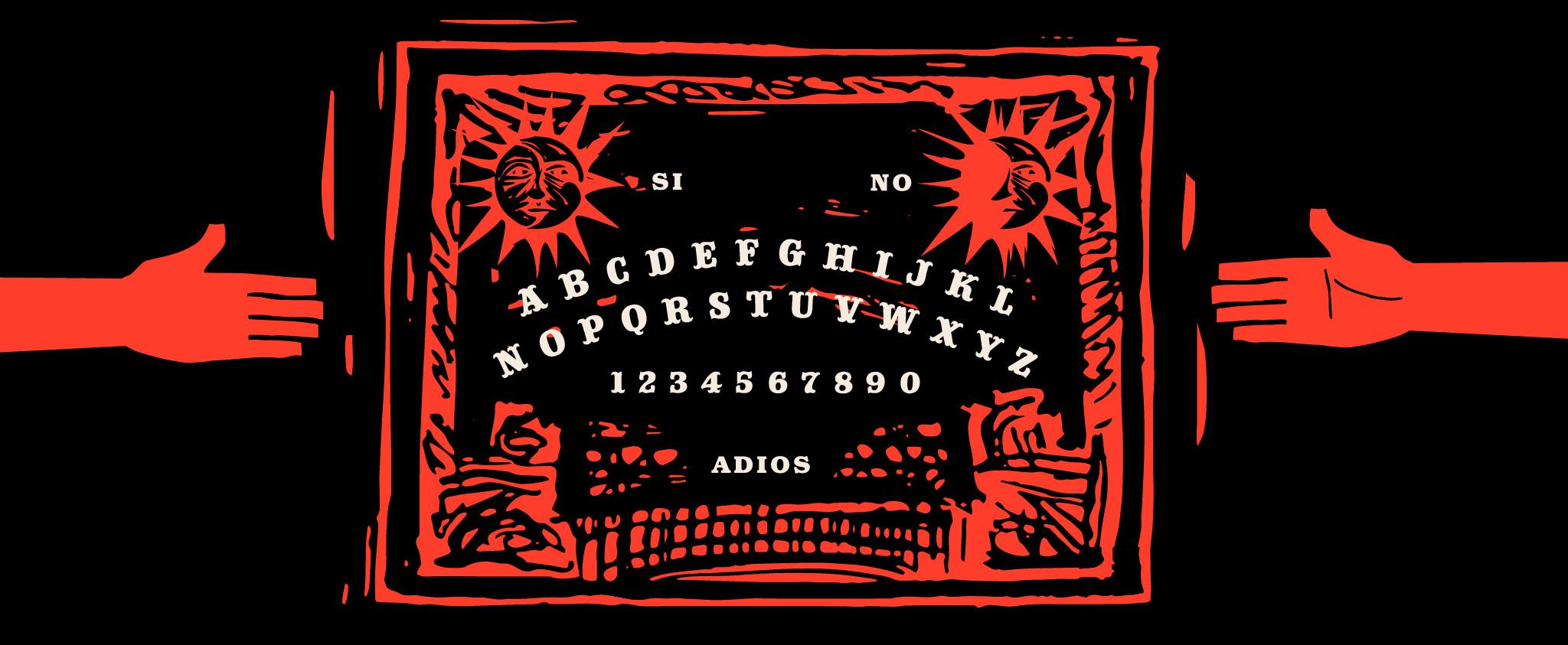 Illustration of a Ouija board.