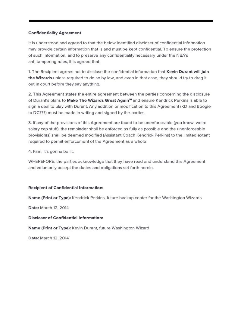 translating kevin durant s confidential agency comments here is the confidentiality agreement in full the text below