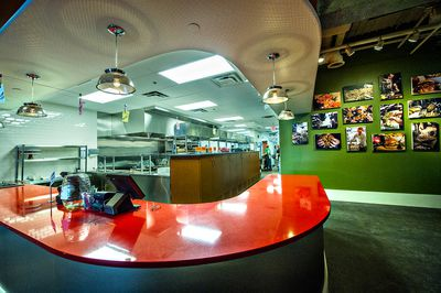 The red counter, where diners order during lunch service.