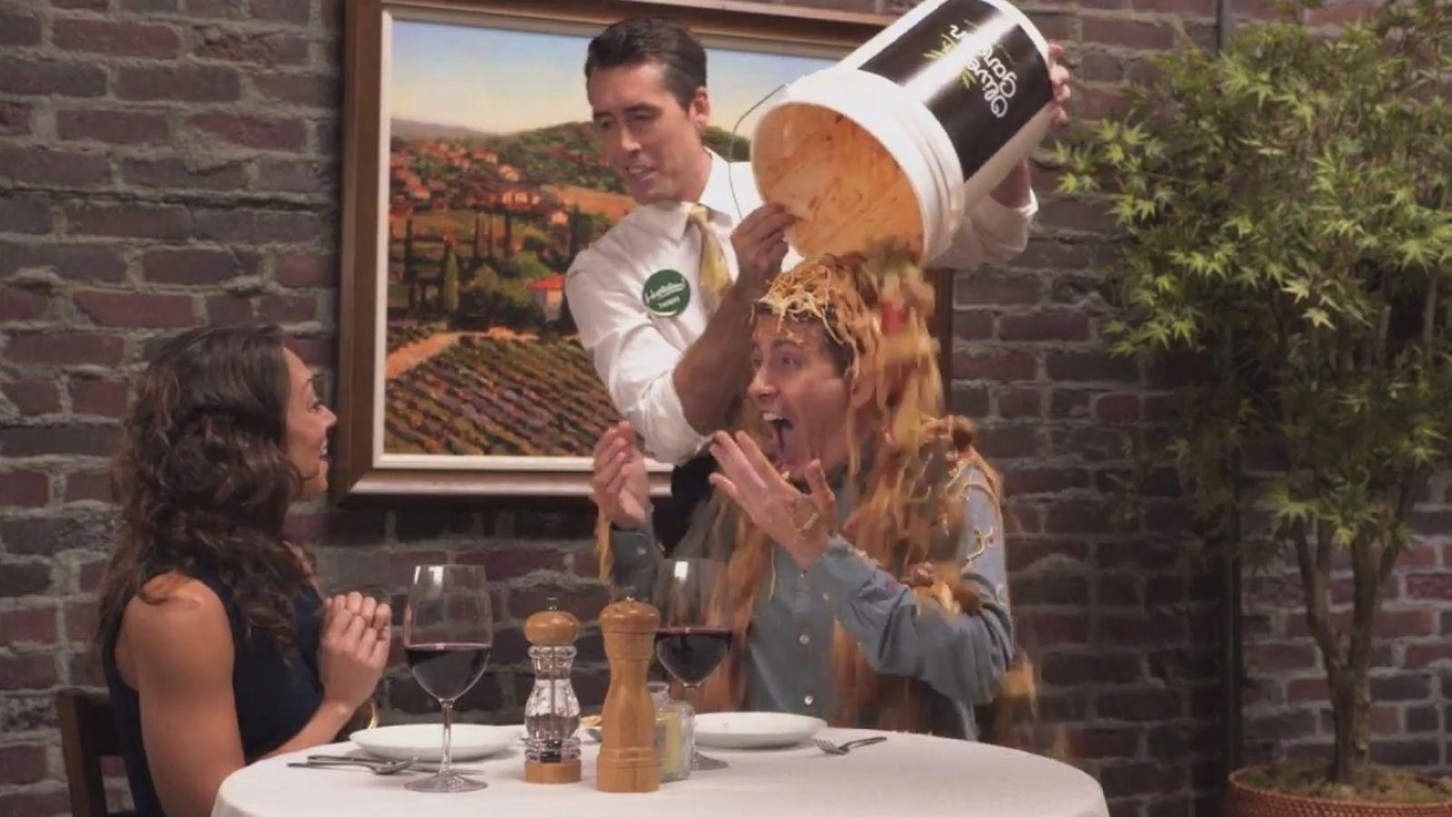 Watch Jimmy Kimmel Combine Olive Garden 39 S Pasta Pass With The Als Ice Bucket Challenge Eater