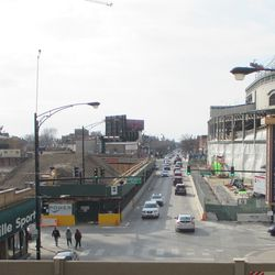 Looking west down Addison, from the Red Line. Note huge dirt pile on left at the Addison Park project