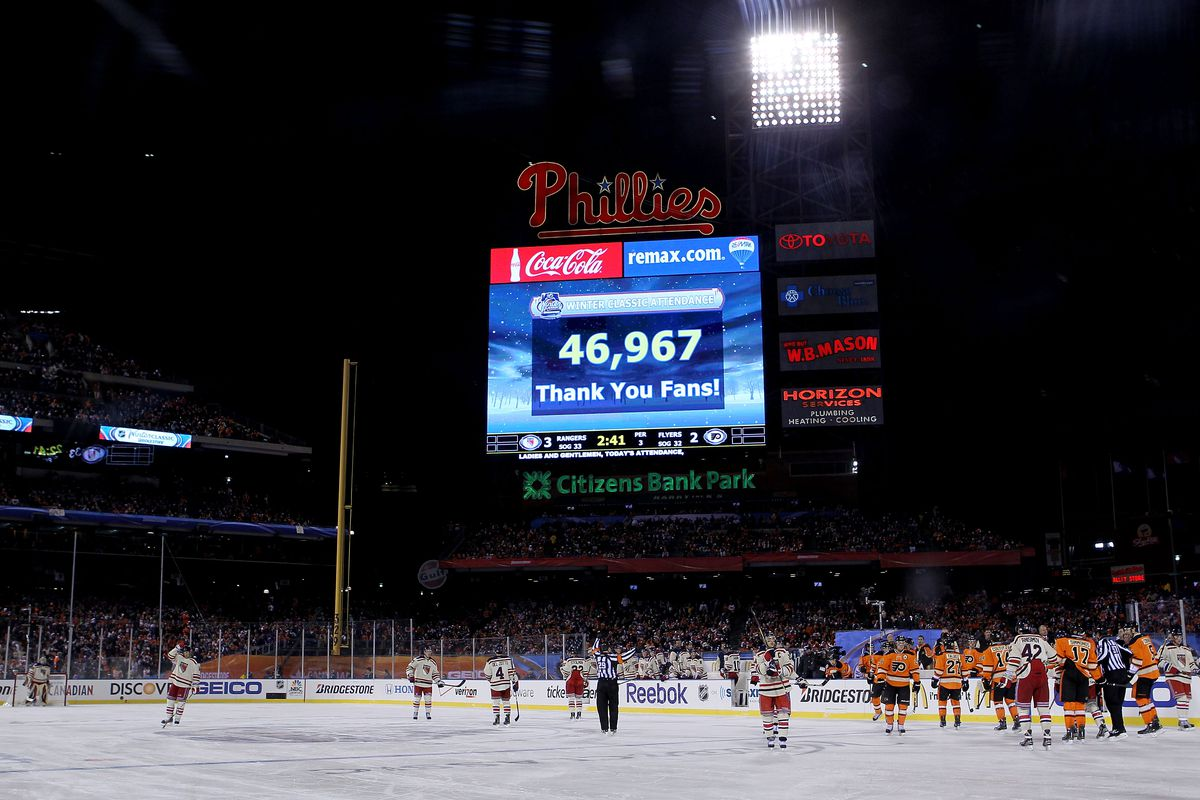 blame flyers fans for nhl playing just two outdoor games in 2015 bruce bennett getty images