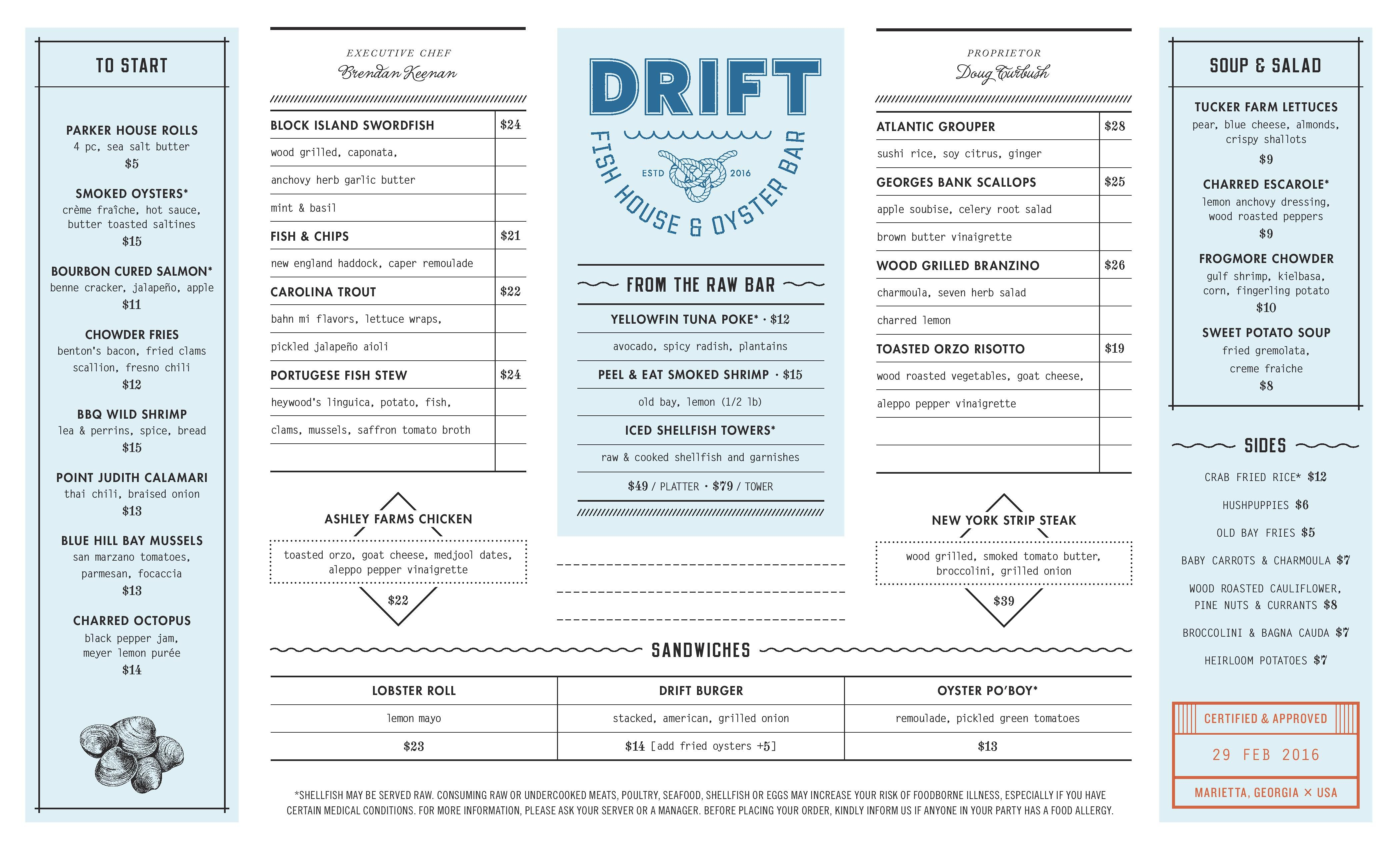 Drift fish house is open in marietta scope the menu for Fish house menu