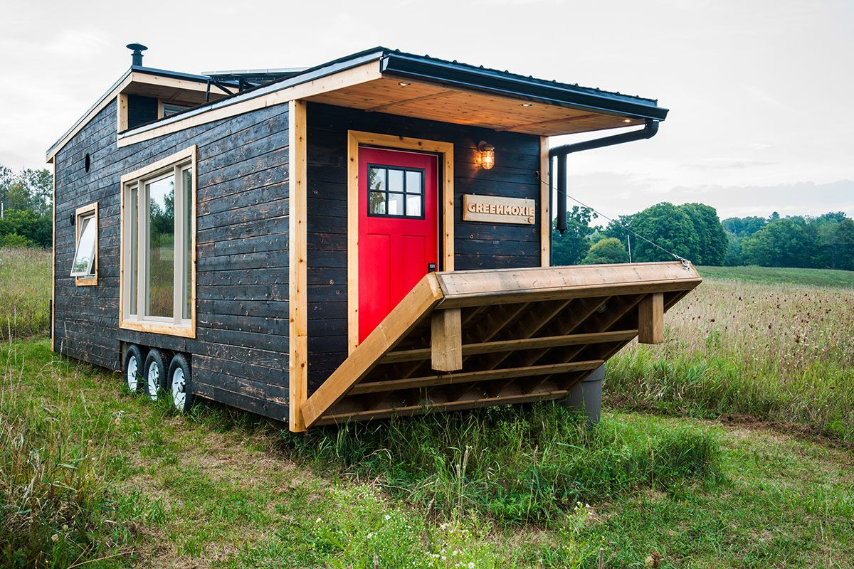 Eco friendly tiny house offers reclaimed style and for Door to windows