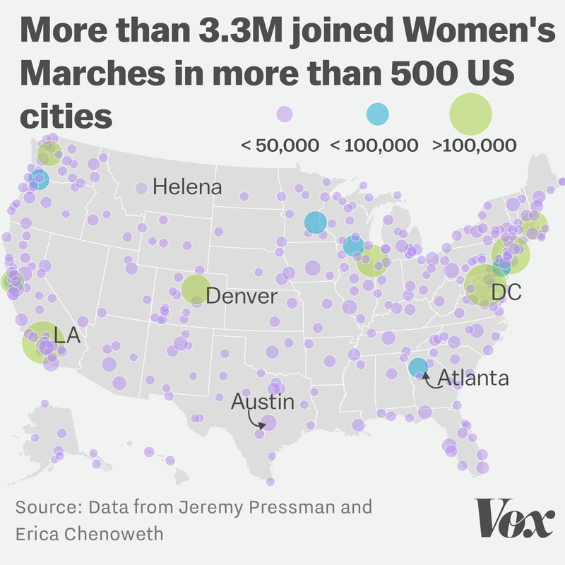 Map of women's marches across the US