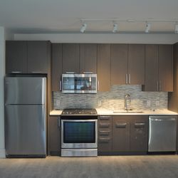 The kitchen in one of the units.