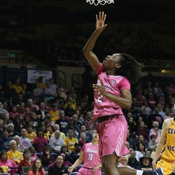 Mikaela Boyd going for the layup.<br>