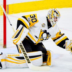 Matt Murray with a glove save during the first period