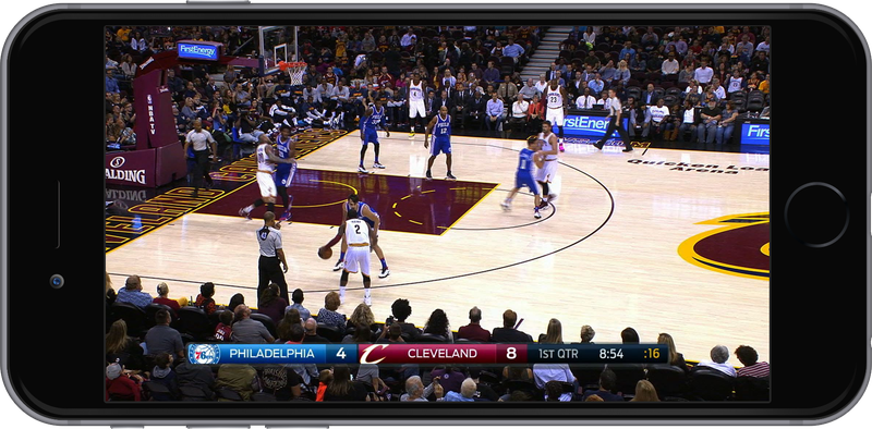 The traditional broadcast view of an NBA game, as seen on a smartphone
