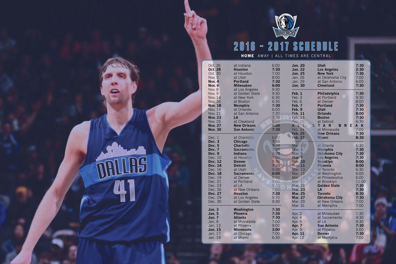 We've got a simple printable version of the Mavericks schedule, plus ...