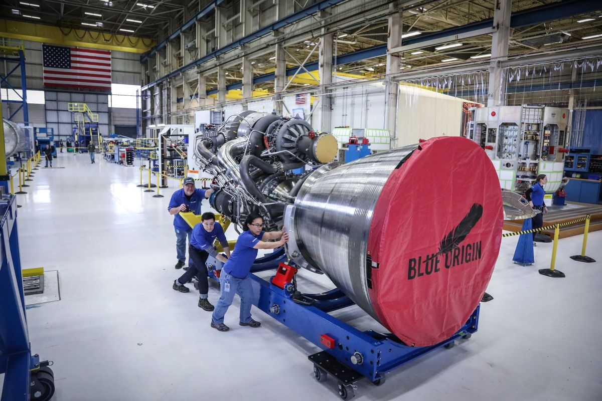 Jeff Bezos Unveils Engine for Blue Origin Megarocket