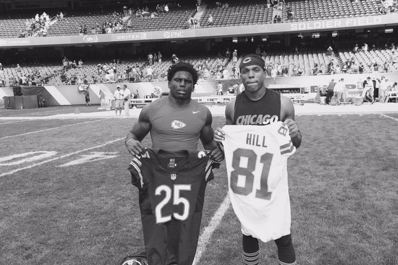 Nike NFL Jerseys - Tyreek Hill and Kevin Peterson swap jerseys after preseason ...