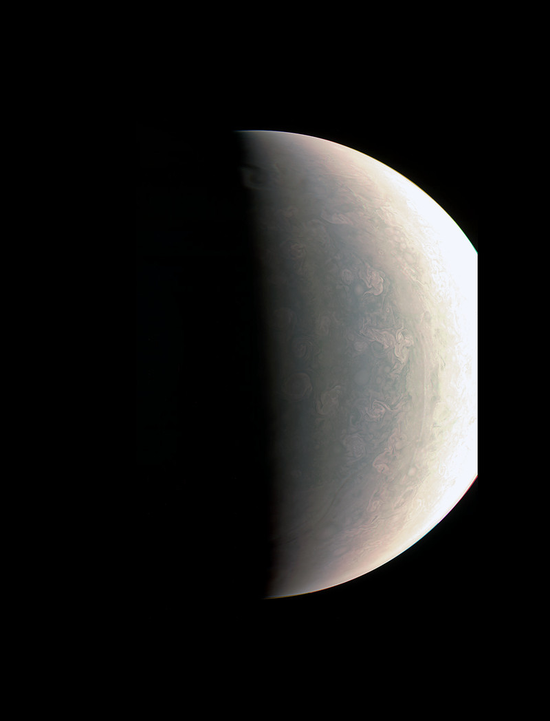 Juno was about 48,000 miles (78,000 kilometers) above Jupiter's polar cloud tops when it captured this view, showing storms and weather unlike anywhere else in the solar system.