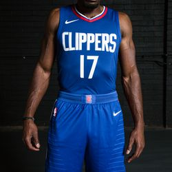 """Front view of the Clippers' blue """"Icon edition"""" jerseys designed by Nike."""