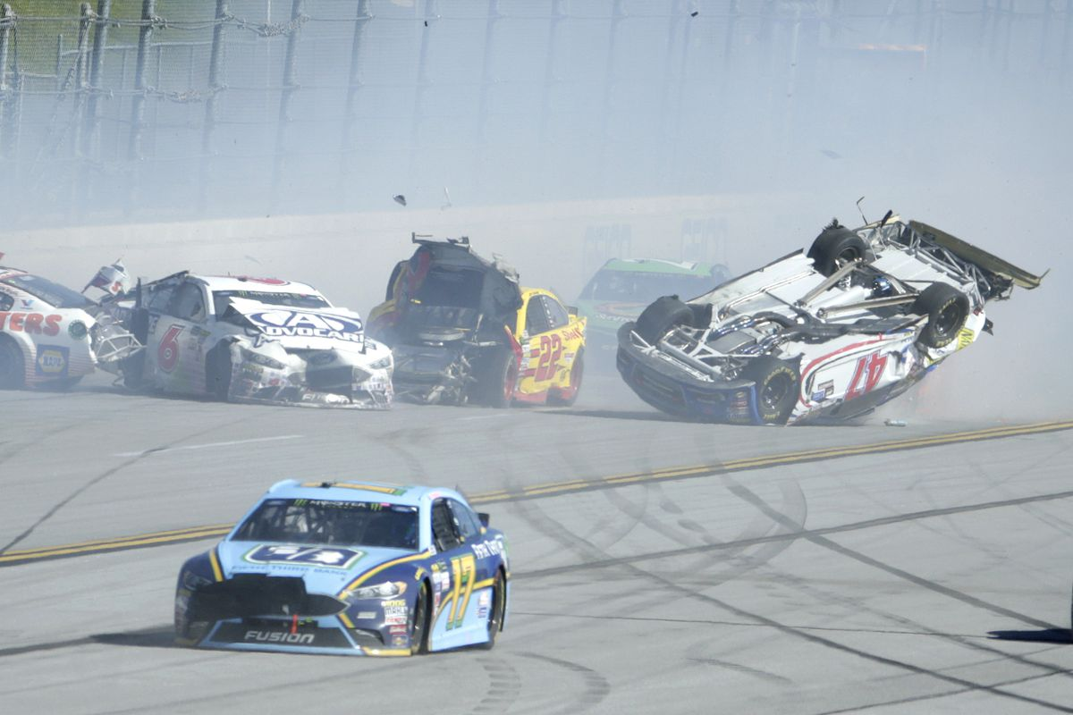 18-car crash leaves AJ upside down at Dega