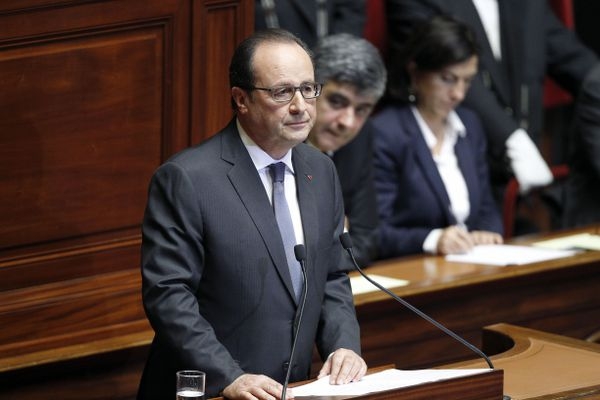 Hollande addresses a joint sessions of parliament at Versailles.