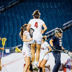 Kenzie Kent and her teammates celebrate a BC goal