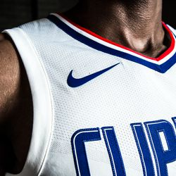 """View of the Nike swoosh on the Clippers' new white """"Association edition"""" jersey."""