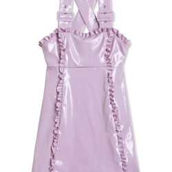 "<a href=""https://www.alexachung.com/row/patent-apron-dress-lilac-32"">Patent Apron Dress</a>, $595"