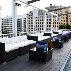 Decades' rooftop VIP area.