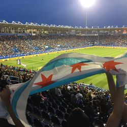 The Chicago flag flies over the pitch as the Fire collect a victory from the (nearly) frozen north.