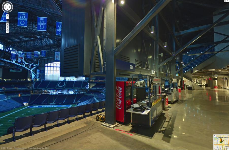 Google maps gives nfl fans a tour of lucas oil stadium for Terrace end zone lucas oil stadium