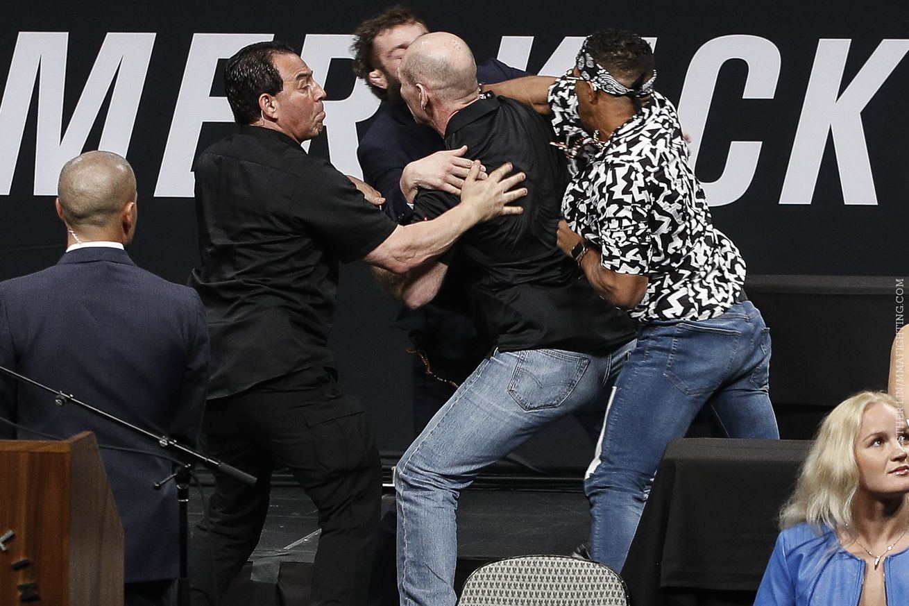 Kevin Lee, Michael Chiesa brawl on stage at UFC press conference