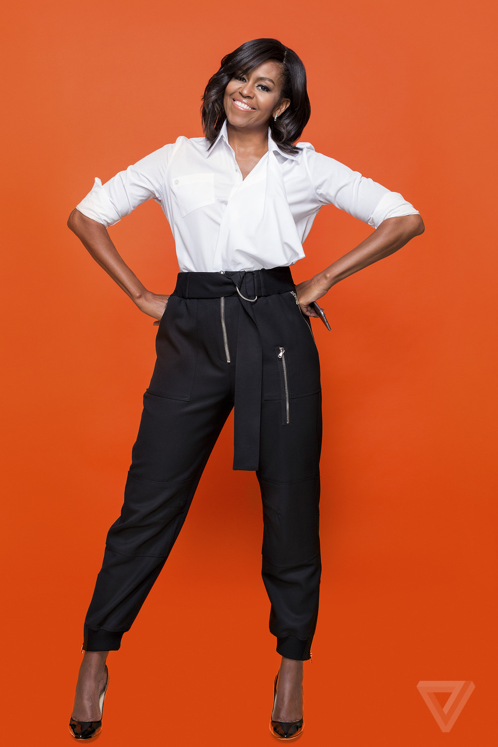Portrait of Michelle Obama on orange background