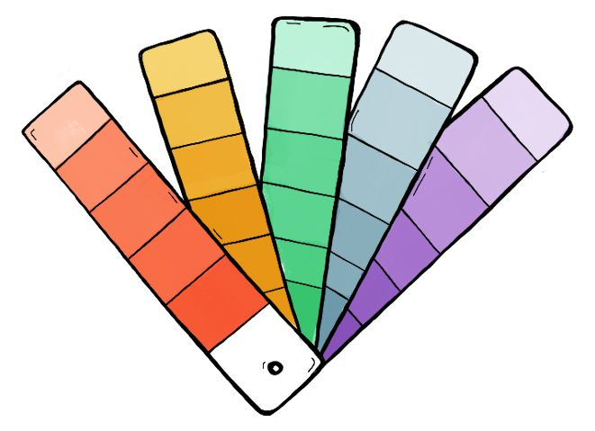 An illustration of paint chip strips