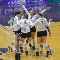 MANHATTAN - K-State volleyball players celebrate after a point in their match against Arkansas on Aug. 31, 2017.