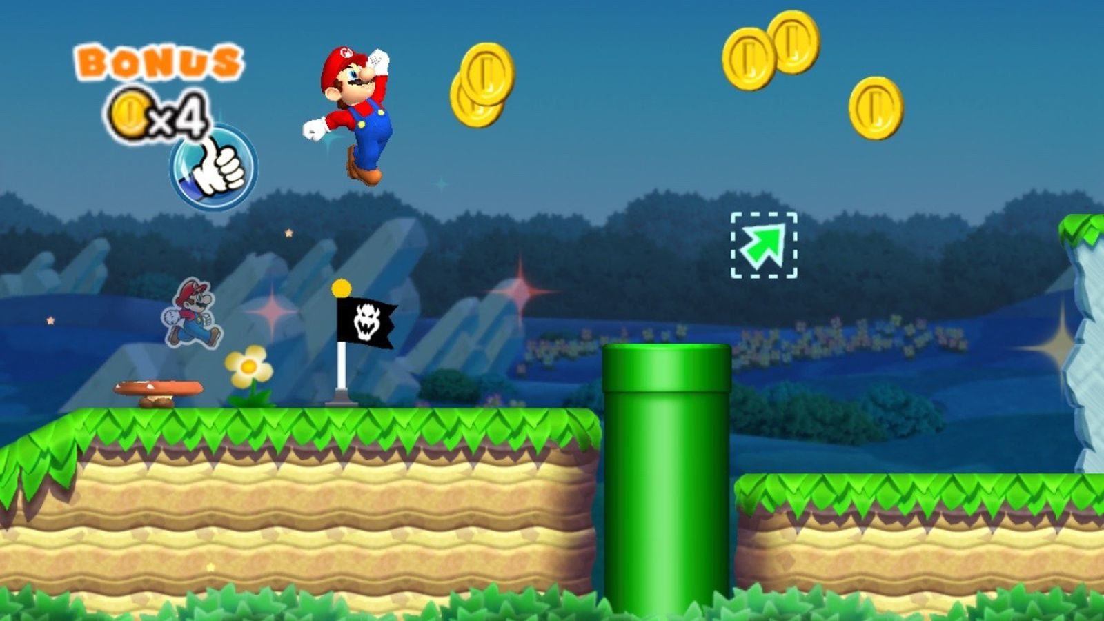 Image result for super mario run backwards arrows