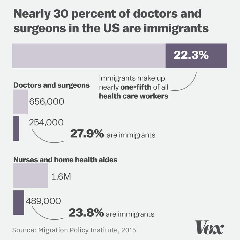 Chart showing that immigrants make up a significant chunk of American health care