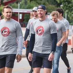 Marcus Kruger joins former teammate Joakim Nordstrom for a walk around the arena. September 10, 2017. Canes 5k benefitting the Carolina Hurricanes Kids 'N Community Foundation, PNC Arena, Raleigh, NC