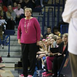 Toledo coach Tricia Cullop looking over the game.<br>