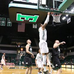 James Thompson lays down the dunk.  He did end up getting a double-double but he fouled out.<br>
