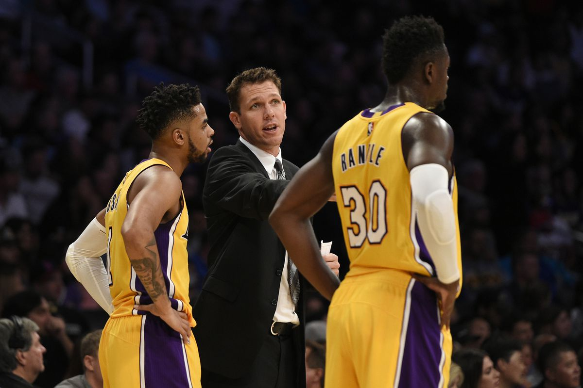lakers news luke walton credits the d angelo russell and julius kelvin kuo usa today sports