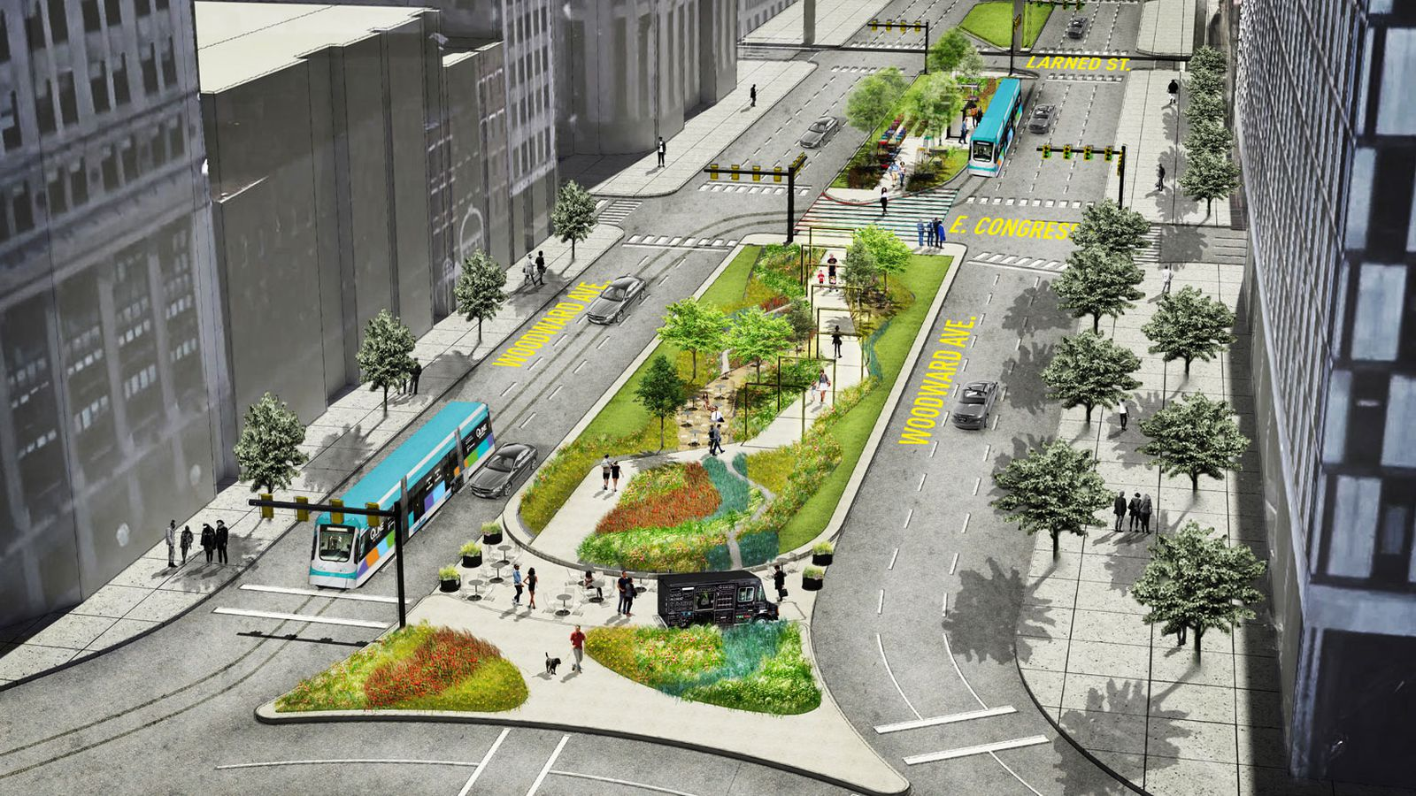 An Esplanade On Woodward Avenue Is Now Open Curbed Detroit