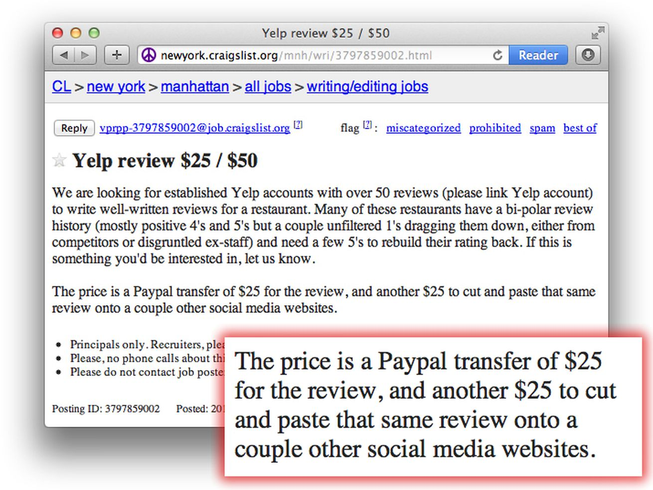 shady craigslist ad offers cash for fake yelp reviews