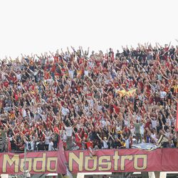 Supporters of Benevento during the Serie A match between Benevento Calcio and FC Internazionale at Stadio Ciro Vigorito on October 1, 2017 in Benevento, Italy.