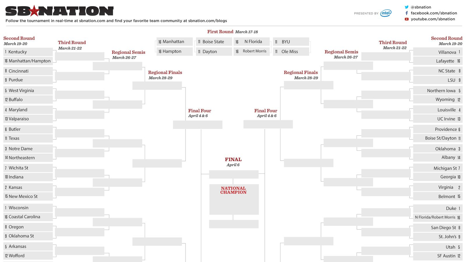Tournament Bracket Templates For Excel 2015 March Madness Bracket ...