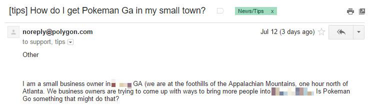 Pokemon Go tips email - Georgia 740