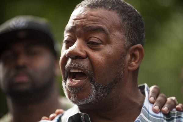 Clarence D. Castile, uncle of Philando Castile, speaks outside the governor's mansion on July 7, 2016.