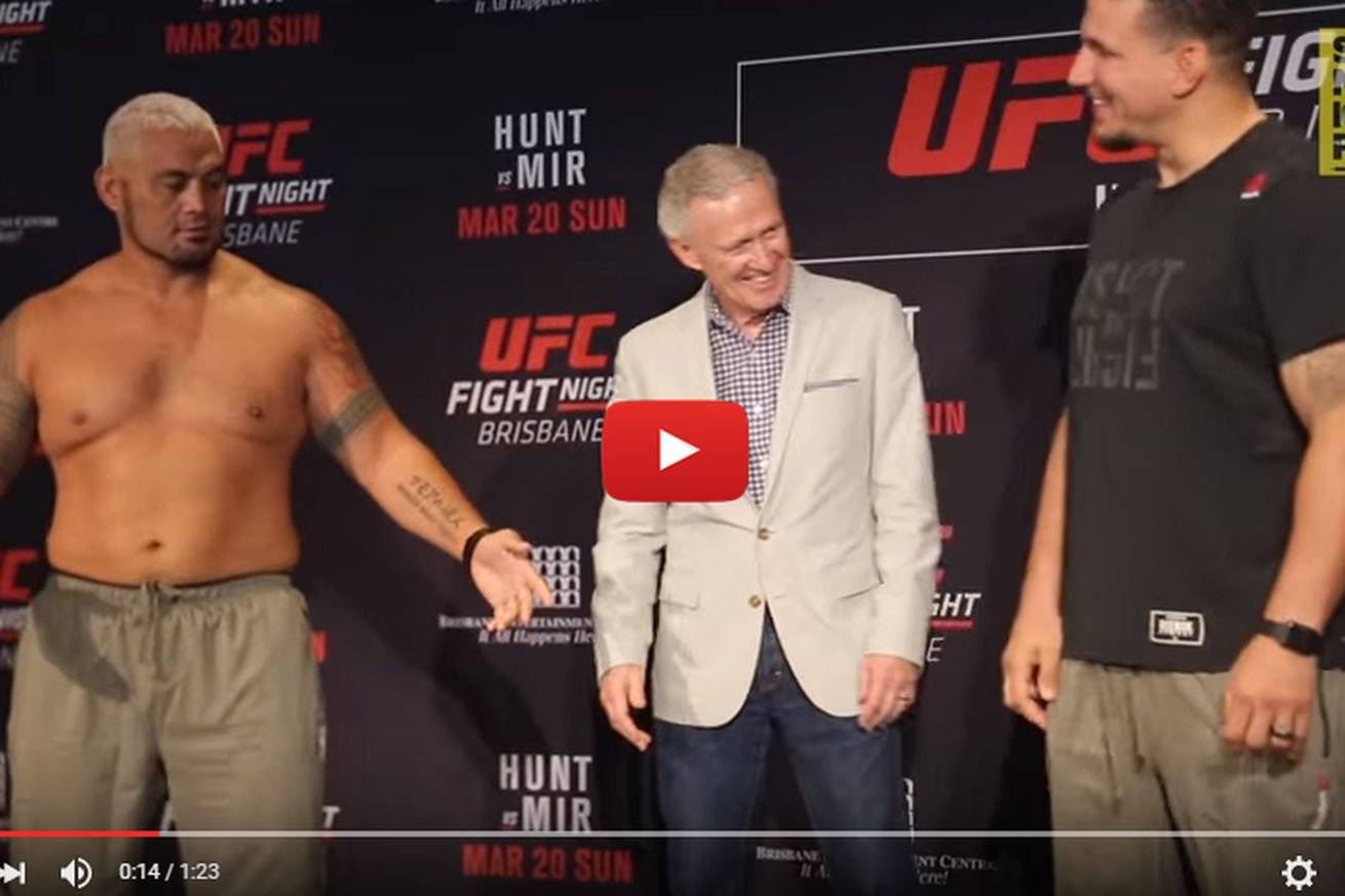 community news, UFC Brisbane staredown video: Heres why Mark Hunt tore his shirt off and confronted Frank Mir