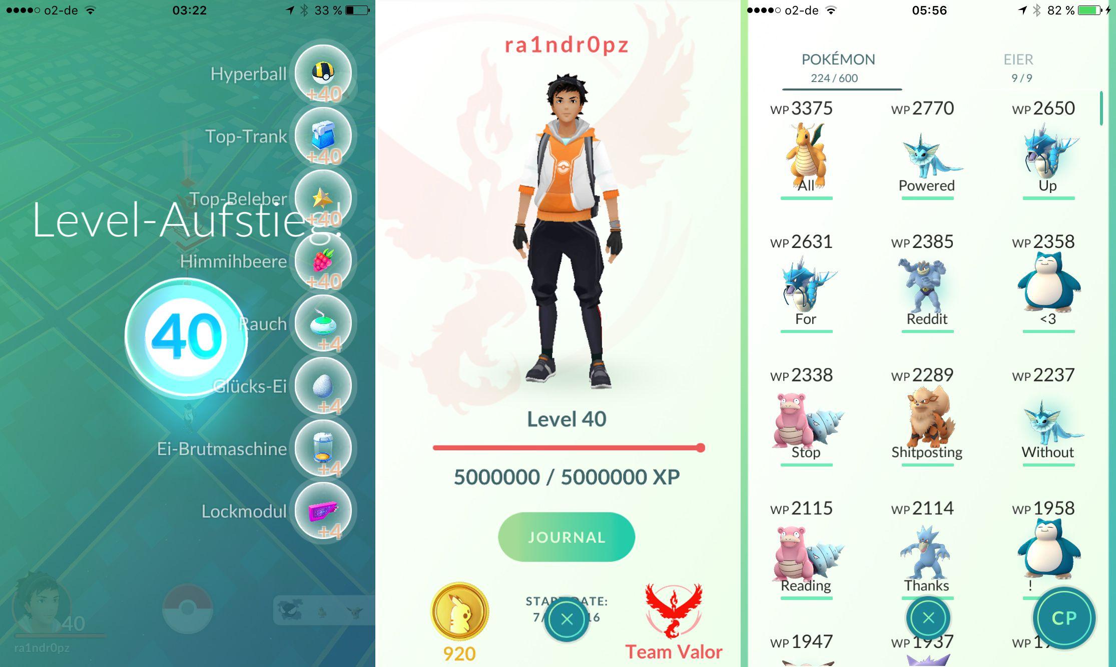 Hecho curioso: Cuando llegas al nivel 37 aún te falta más de la mitad para el nivel 40 Pokemon-go-level-cap-bot-screenshots.0