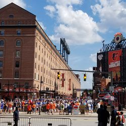 Line outside Eutaw Street entrance waiting for gates to open