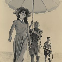 """<a href=""""http://lucasmuseum.org/works/detail/asset_id/1041"""">Picasso and Francoise Gilot, Antibes (c. 1948)</a> by Robert Capa"""
