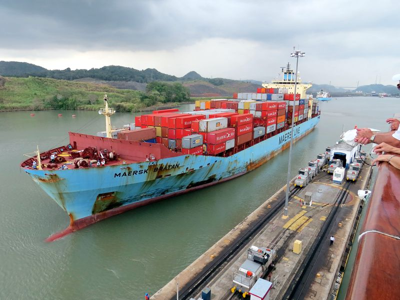 The Maersk Line container ship the Maersk Bratan entering The Pedro Miguel Locks. (Peter Stoffels/Moment)