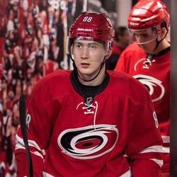 Canes 2017 first round draft pick Martin Necas takes the ice for Team Red in the scrimmage. July 1, 2017. Carolina Hurricanes Summerfest and Development Camp, PNC Arena, Raleigh, NC. Copyright © 2017 Jamie Kellner. All Rights Reserved.