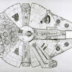 """The design of the<a href=""""http://lucasmuseum.org/works/detail/asset_id/1913"""">Millennium Falcon</a>"""